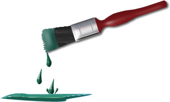 Graphic of a paintbrush dripping paint