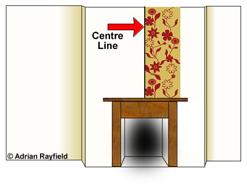 Graphic of a fire breast wall being wallpapered