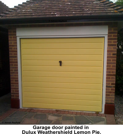 Photo of yellow garage door