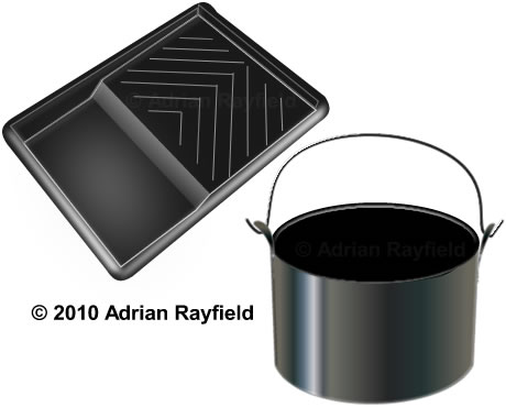 Diagram of a paint tray and a paint kettle (copyrignt Adrian Rayfield)