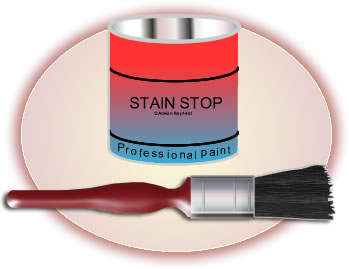 Graphic of stain stop and brush