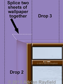 Graphic of wallpaper with spliced in infill section