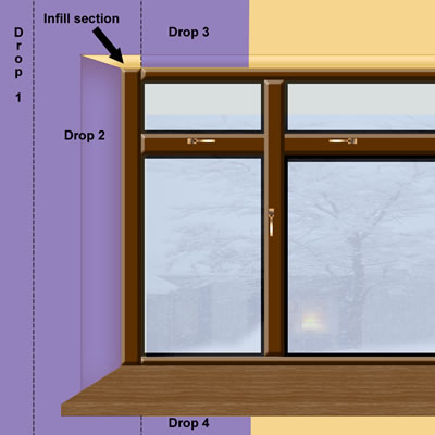Graphic of wallpaper around reveal showing infill area ... & How to wallpaper around a window or door reveal :: Property Decorating