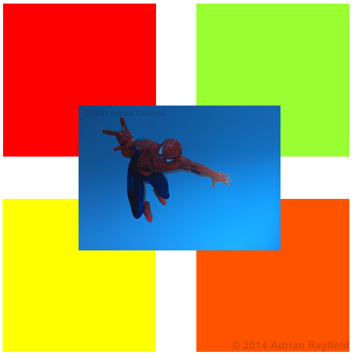 Kids room colours and spiderman decal on blue wall
