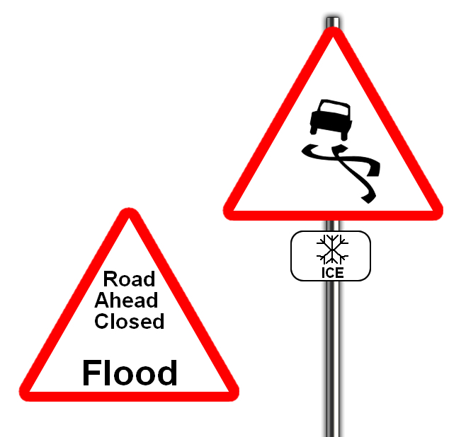 Flood and ice road sign