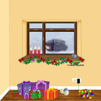 Graphic of christmas scene looking out of steamed up window