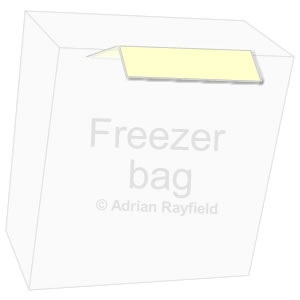 Graphic of a freezer bag with masking tape folded over one edge (copyrignt Adrian Rayfield)