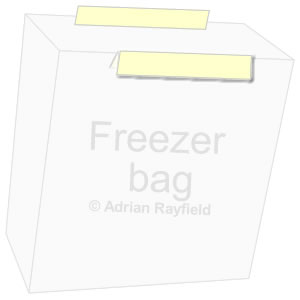 Graphic of a freezer bag with masking tape folded over one edge and another length of tape not folded on the other oppersite edge (copyrignt Adrian Rayfield)