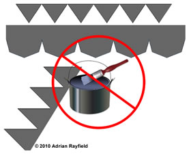 Graphic of lead flashing, a paint kettle and brush