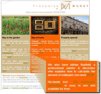 Screen shot of newsletter