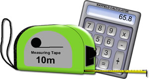 Drawing of tape measure and calculator