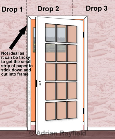 Graphic of wallpaper around a door
