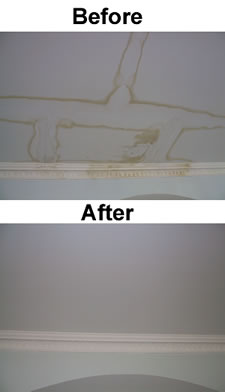 A before and after shot of water stain on ceiling and coving