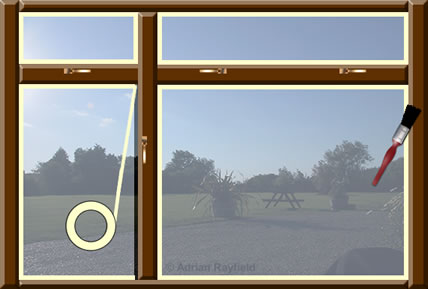 Graphic of window with masking tape around it and a paint brush (copyrignt Adrian Rayfield)