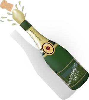 Champagne bottle with cork popping