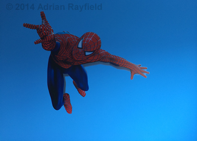 Spiderman decal on blue wall