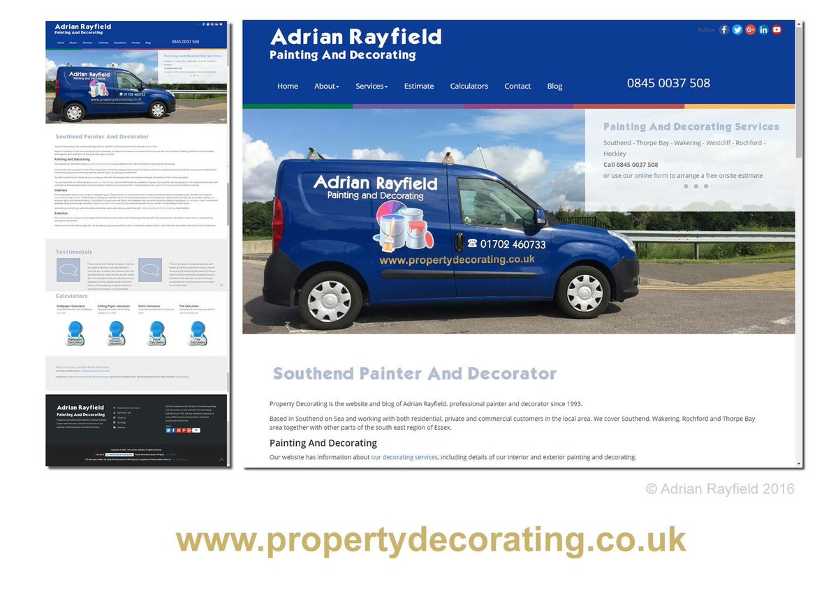 Website screenshot of Property Decorating