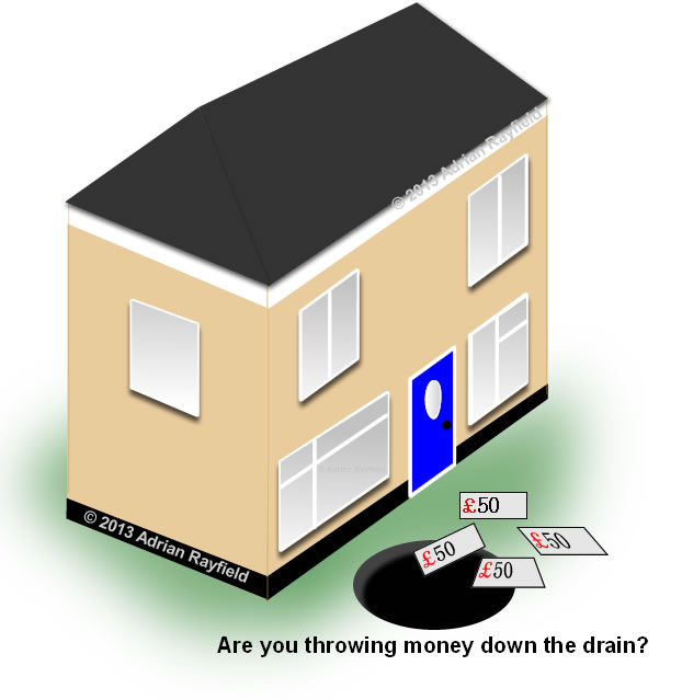 Graphic of a house with money going down a drain